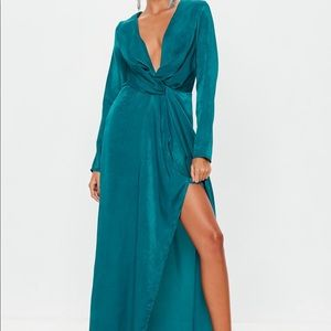 "Missguided ""Teal Wrap Front Maxi Dress"""